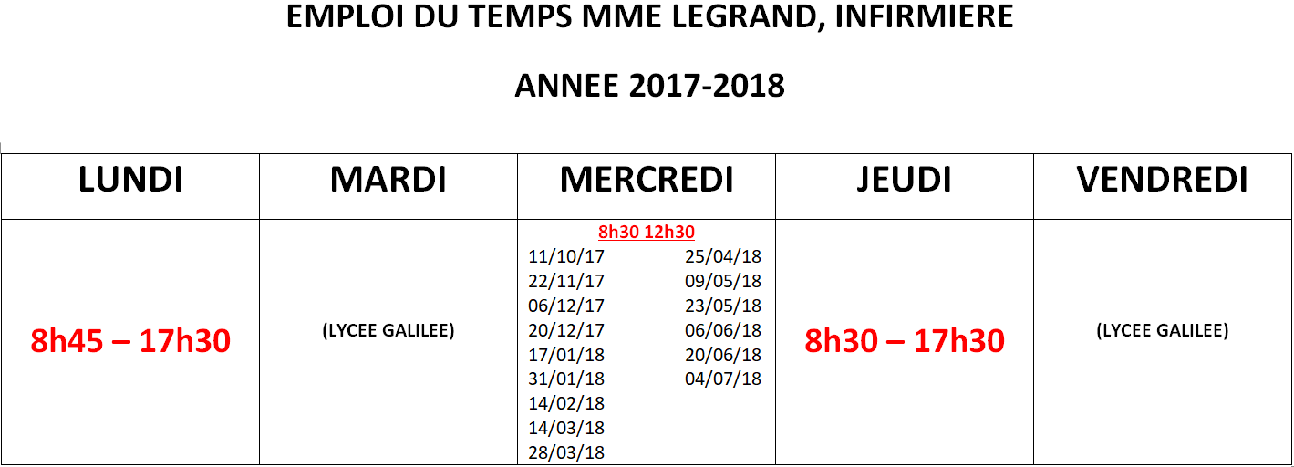 infirmiere 2017 2018